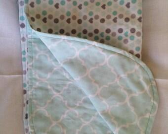 Light Blue Polka Dot Flannel Baby Blanket