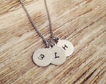 Initial hand stamped necklace - Up to four initials / Small discs / For Her / Simple necklace / Personalized jewelry / Initial charms