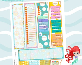 Printable Stickers 5 Side Bars 15 MDN Headers 1 Plan Page Flag PDF Owl Theme for EC Erin Condren Life Planners