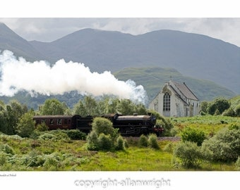 Jacobite Steam Train at Polnish Church, Lochailort.