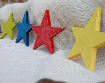 """Star Wall Decor Set of Four, Distressed Wood Star Wall Hanging,Multiple Colors Available, Yellow, Red, Blue, Green, White, Pink 5.5"""""""