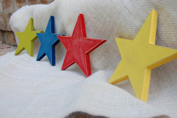 Blue Star Wall Decor : Items similar to star wall decor set of four distressed