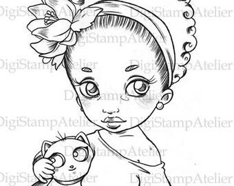 Little Girl with Plushie. INSTANT DOWNLOAD Digital Digi Stamps.