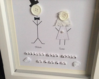 Personalised wedding gift - button people