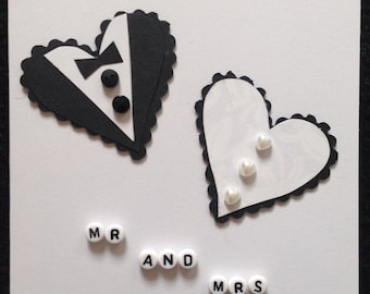 Handmade Mr and Mrs heart wedding card
