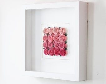 Paper Roses Nursey Decor | 3D Wall Art | Pink Ombre