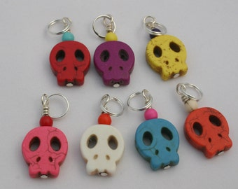 Fiesta Skulls Stitch Markers - Set of 5 or 7