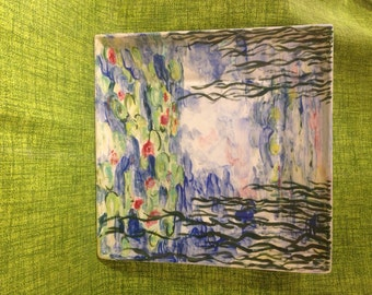 Hand painted ceramic plate. Claude Monet: Water Lilies