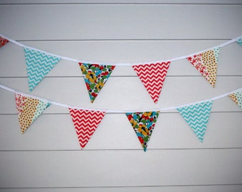 Bunting - Coral, Turquoise & Floral - Ready to Ship