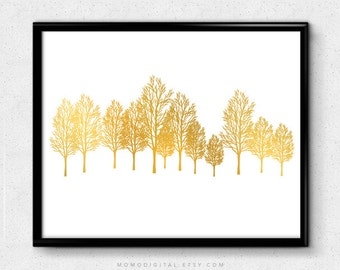 SALE -  Trees Silhouette, Faux Gold Foil, Faux Gold Print, Gold Print, Gold Foil, Silhouette Art, Nature Poster, Modern Tree, Forest