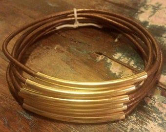 Bronze Leather Cord Bangles with Gold Metal Tubes, Set of 6 Bangles