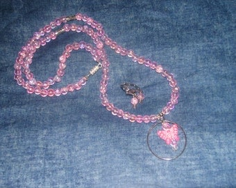 Pink Butterfly with pink beads