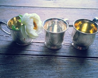 3 Vintage Sterling Silver cups