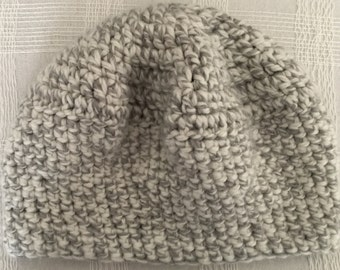 Gray beanie thick and chunky crocheted
