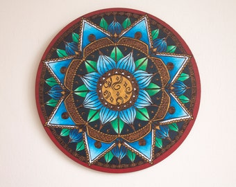Wooden Wall Art- Blue Lotus Mandala