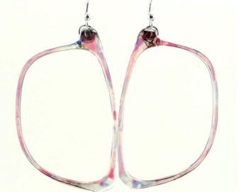 Pink Multi Retro Eyeglasses Frames Earrings