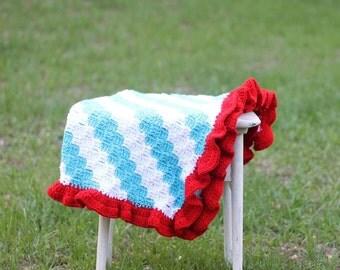 Diagonal Striped Baby Blanket