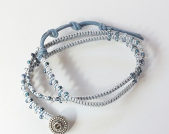denim blue waxed cotton wrap bracelet with denim seed beads and metal button - KNO-99