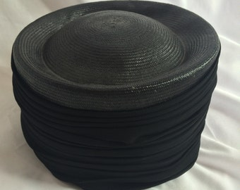 Vintage 1960s Black Hat with Gauze Wrap