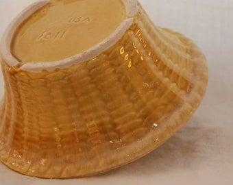 Vintage Basket Weave Ceramic Pottery Bowl Golden Yellow Drip Ware