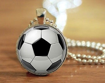 Soccer Ball Pendant Keychain Necklace Jewelry