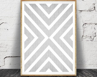 Geometric Print, Scandinavian Mid Century Wall Art, Large Printable Poster, Modern Minimalist, Grey Decor, Digital Download, Cross Pattern