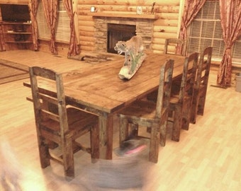 Rustic Table bench and chairs