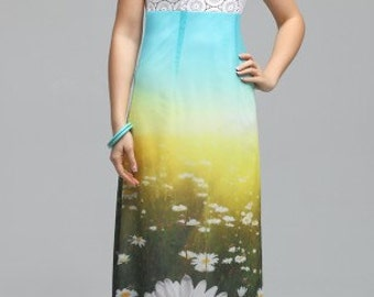 751 Women's summer l 2-layer  maxi dress with a 3D effect. Dress with shoulder straps, bodice - relief of lace