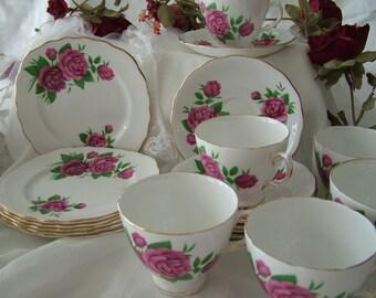 Royal Vale English bone china dark pink rose tea set wedding mix match