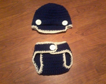 Crocheted Hat with matching diaper cover