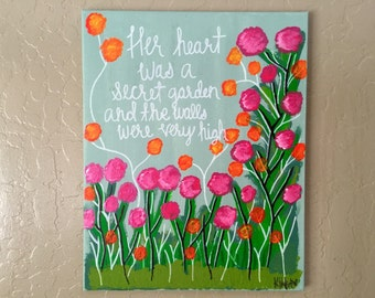Floral Garden Quote on Canvas