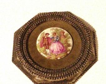 Fragonard Porcelain Courting Couple on Brass Frame,