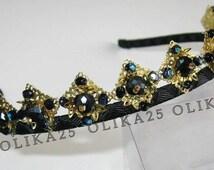 Black and gold beaded headband D&G baroque headband Beaded crown Beaded headband Black headband Vintage style headband Black hair accessory