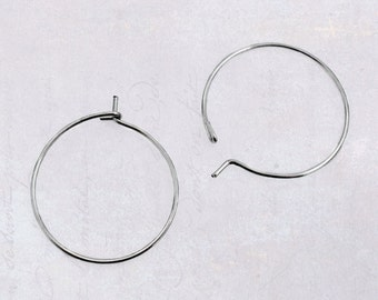 50 x Small 20mm Stainless Steel Wire Hoops for Wine Glass Charms & Earrings Surgical Grade, 21 Gauge