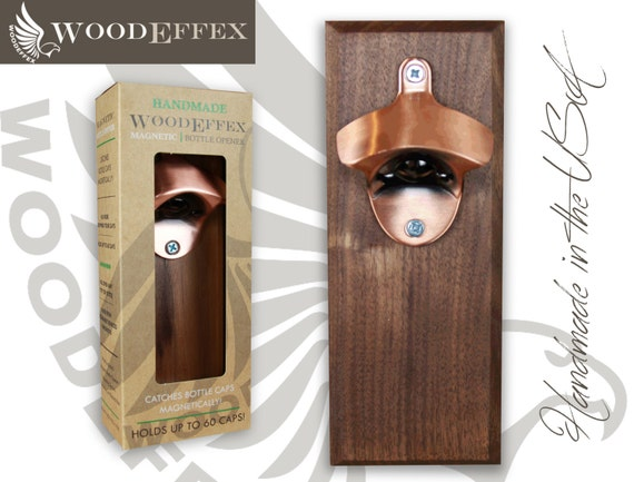 bottle opener magnetic cap catcher handcrafted walnut wood with brushed copper opener. Black Bedroom Furniture Sets. Home Design Ideas