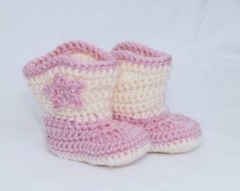 Baby Cowgirl Boots, Pink and Cream Cowgirl Boots, Crocheted Boots, Baby Booties, Baby Gift, Photo Prop, Cowgirl