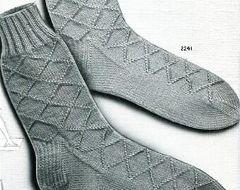 1950's Diamond Design Knitted Anklet Socks Sized for Women & Men  PDF Pattern Instant Download