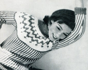 1950's Mid Century Nordic Ski Sweater Vogue PDF Pattern Instant Download
