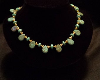 Turquoise Teardrop Necklace with Gold Accents (N7)