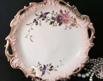 Antique Coiffe Limoges Two Handled Tray by B&T