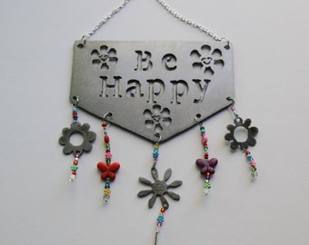 "Beaded Wall Hanging ""Be Happy"""