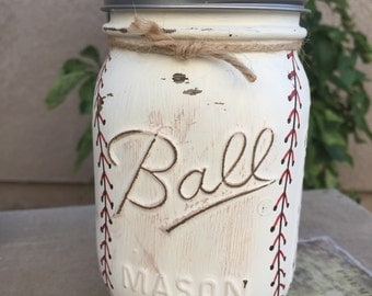 Baseball Mason Jar Piggy Bank