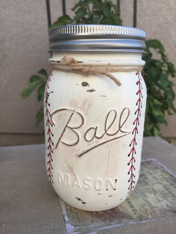 Baseball mason jar piggy bank for Mason jar piggy bank