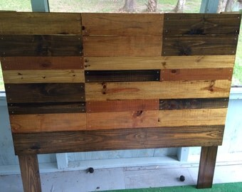 Repurposed pallet wood headboard