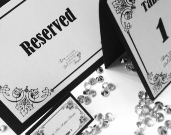 Wedding Black & White Reserved Tented Sign