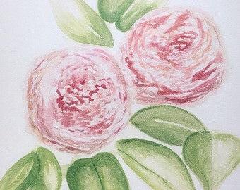 """PRINT of original watercolor, Titled: """"Pink Peonies"""" by Shaner Johnson"""