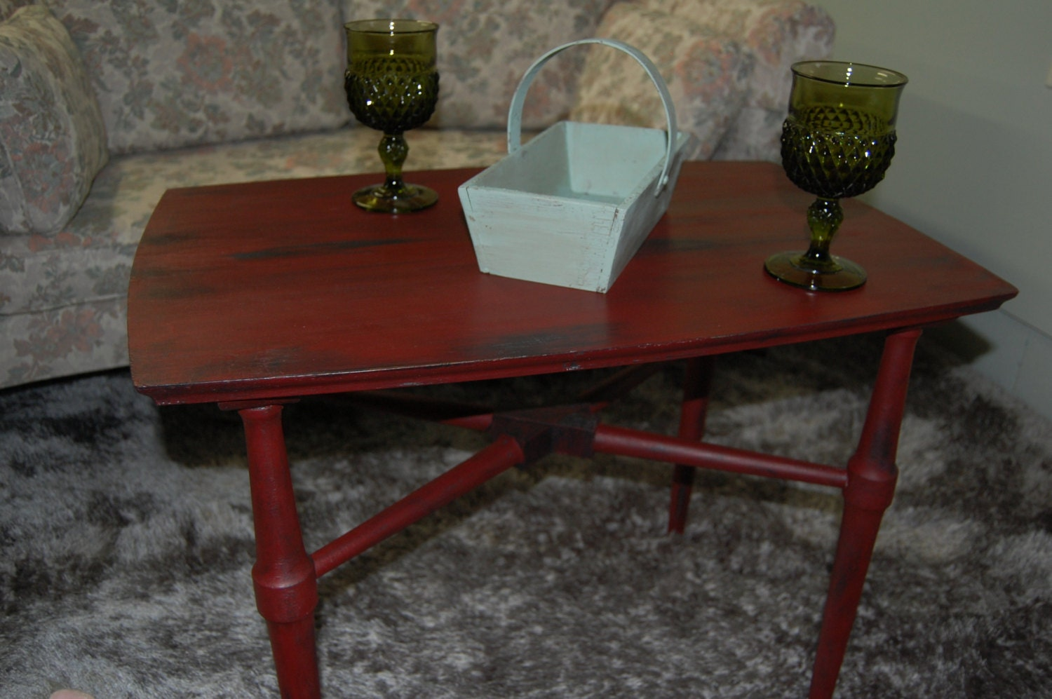 solid wood red and black coffee table