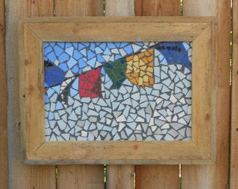 Prayer Flags ceramic clay tile mosaic, hanging wall art, rustic wood frame