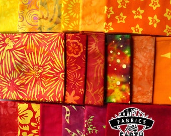 Sunset Batik 18 Fat Quarter Bundle - Red Yellow Quilting Fabric