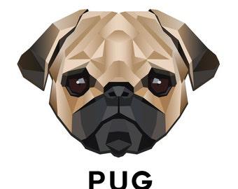 "2 Pug Tattoos - 2.5"" Temporary Dog Tattoo"